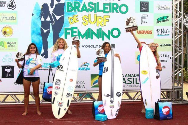 Pódio Sub 16, Circuito Brasileiro Feminino 2019, Itamambuca, Ubatuba (SP). Foto: Daniel Smorigo.