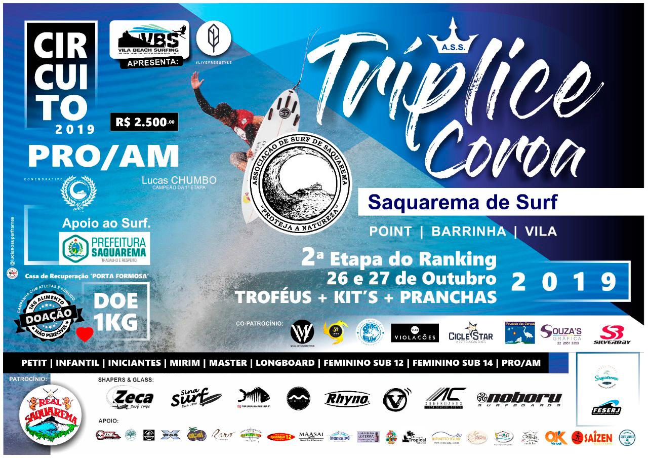 Lucas Chumbo no cartaz da 2a etapa do circuito Tríplice Coroa Saquarema de Surf.
