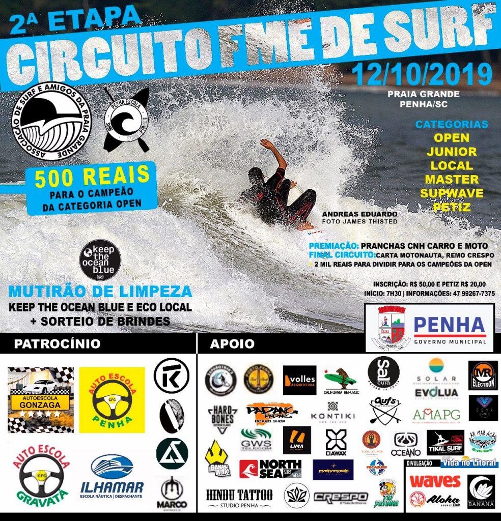 Cartaz da segunda etapa do Circuito FME de Surf 2019.