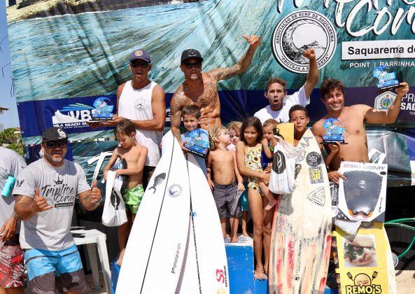 Pódio Master, Tríplice Coroa Saquarema de Surf 2019. Foto: Assessoria ASS.