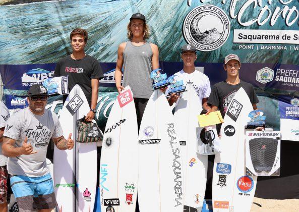 Pódio Mirim, Tríplice Coroa Saquarema de Surf 2019. Foto: Assessoria ASS.
