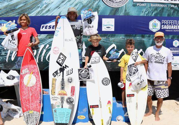 Pódio Petit, Tríplice Coroa Saquarema de Surf 2019. Foto: Assessoria ASS.