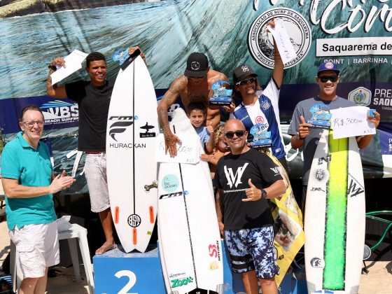 Pódio Pro AM, Tríplice Coroa Saquarema de Surf 2019. Foto: Assessoria ASS.