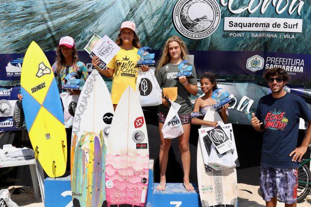 Pódio Sub 14, Tríplice Coroa Saquarema de Surf 2019. Foto: Assessoria ASS.