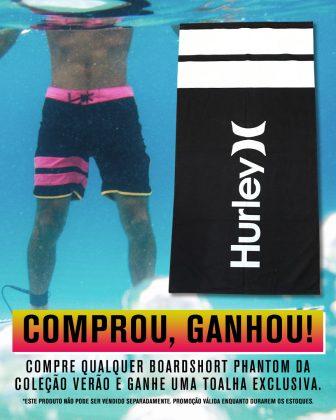 Promoção Boardshorts + Toalha, coleção de verão Hurley 2019/2020. Foto: Divulgação.