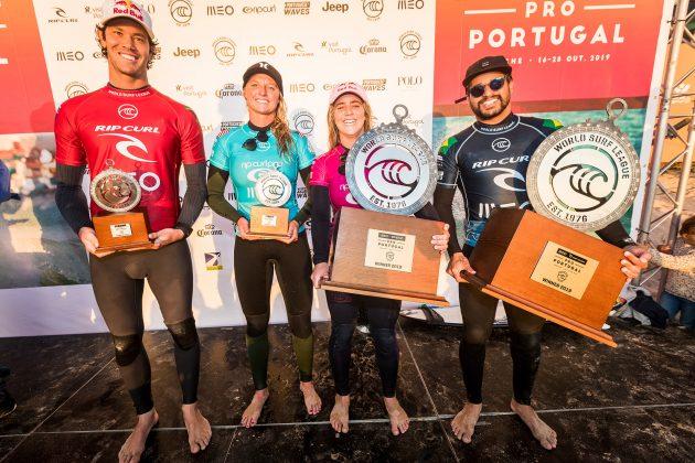 Jordy Smith, Lakey Peterson, Caroline Marks e Italo Ferreira, MEO Rip Curl Pro Portugal 2019, Supertubos, Peniche. Foto: WSL / Poullenot.