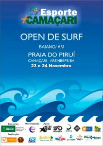 Cartaz do Camaçari Open de Surf 2019.