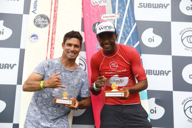 Piccolo Clemente e Carlos Bahia, Oi Longboard Pro 2019, Maresias, São Sebastião (SP). Foto: @WSL / Daniel Smorigo.