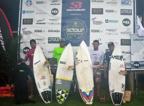 Pódio Open, Silverbay SCTour Fecasurf 2019, Novo Campeche, Florianópolis (SC). Foto: Basilio Ruy/P.P07.