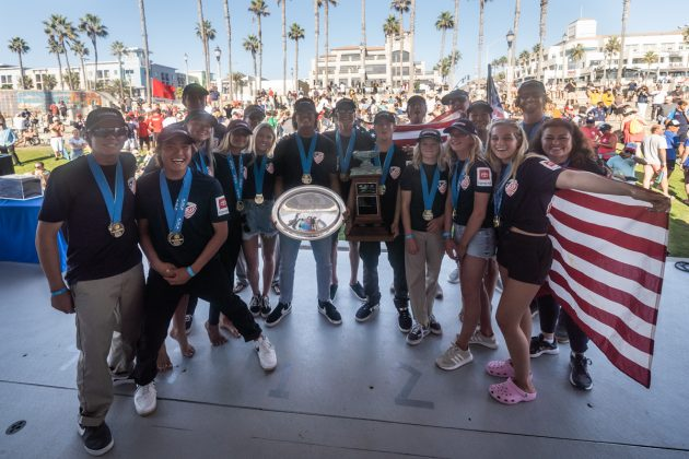 Equipe norte-americana, Vissla World Junior Championship 2019, Huntington Beach, Califórnia (EUA). Foto: ISA / Sean Evans.