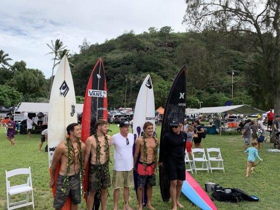 Eli Olson, Nathan Florence, Koa Rothman e John John Florence, The Eddie Aikau Invitational 2019, Waimea Bay, North Shore de Oahu, Havaí. Foto: Fernando Iesca.
