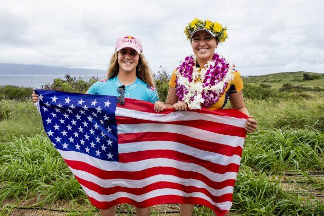 Caroline Marks e Carissa Moore, Maui Pro 2019, Honolua Bay, Havaí. Foto: WSL / Cestari.