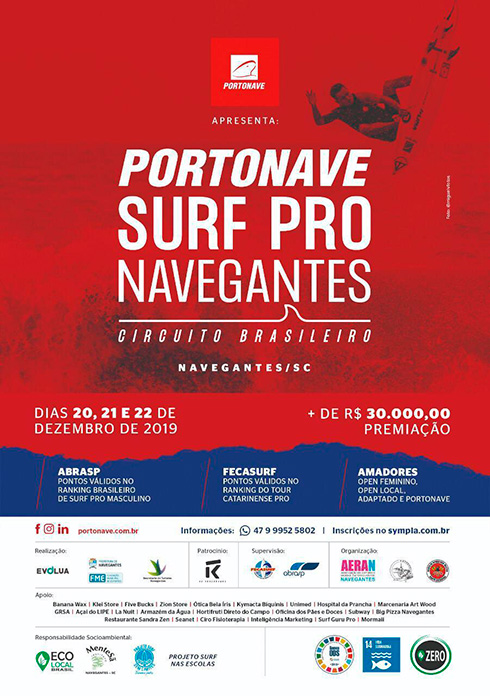 Cartaz Portonave Surf Pro Navegantes 2019.