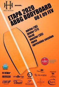 Cartaz da etapa ABBG de Bodyboarding 2020.