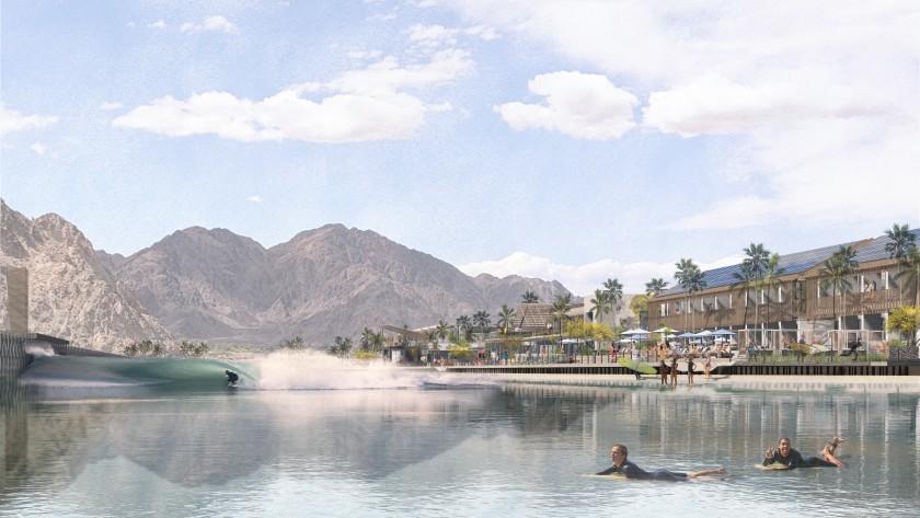Resort luxuoso com investimento de US$ 200 milhões pode ganhar piscina de ondas de alto nível em Coachella Valley (EUA). Imagem: CCY Architects