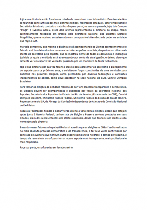 Nota divulgada pela chapa de Jojó de Olivença. Foto: Reprodução.