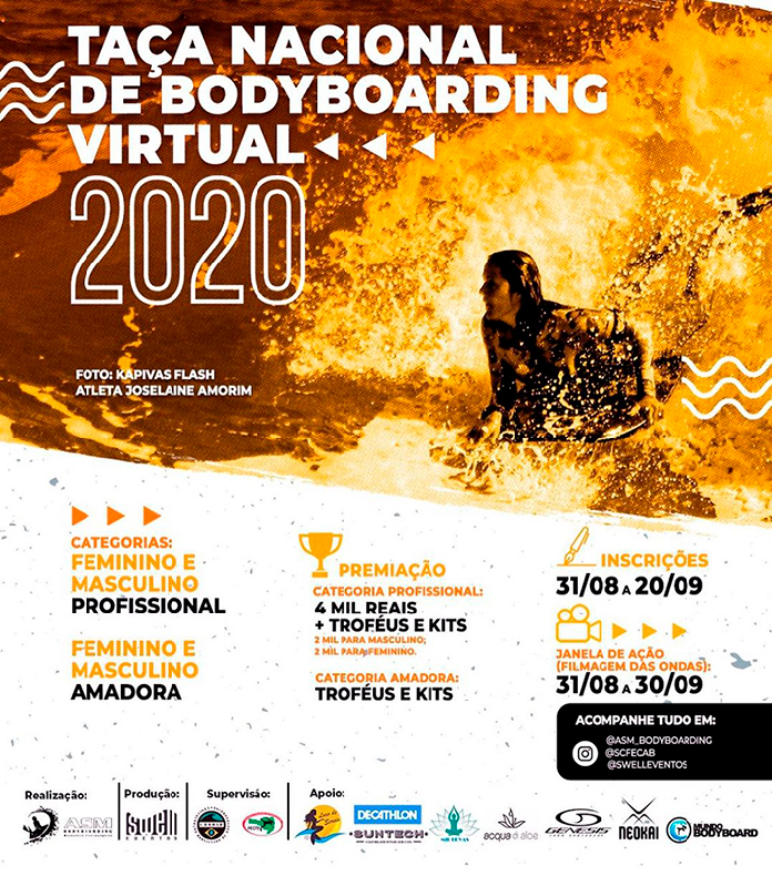 Cartaz da Taça Nacional de Bodyboarding Virtual.