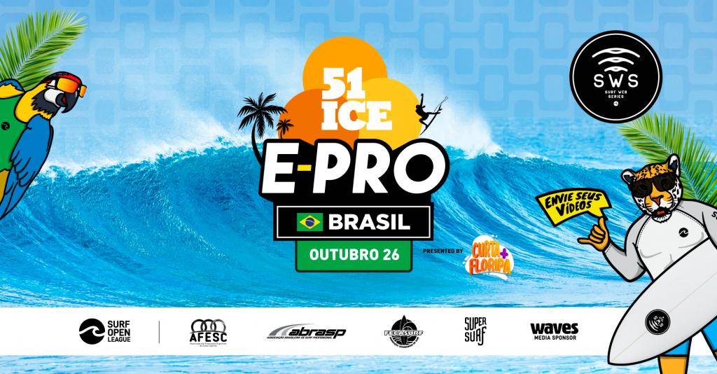 Cartaz do 51 Ice E-Pro Brasil, etapa brasileira do Surf Web Series 2020.