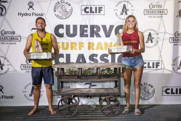 Justin Quilntal e Soleil Errico, Cuervo Surf Ranch Classic 2020, Lemoore, Califórnia (EUA). Foto: WSL / Morris.