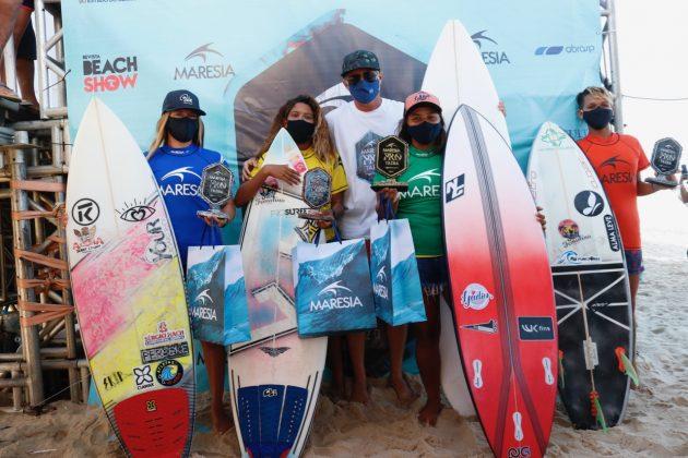 Pódio Feminino Open, Circuito Cearense 2020, Praia da Taíba (CE). Foto: Lima Jr.