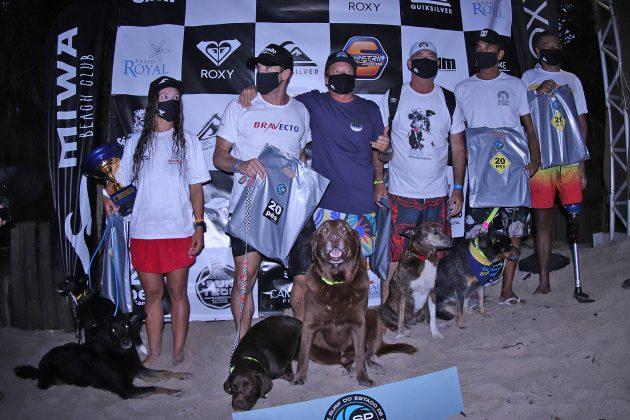 Pódio Surf Dog, Quiksilver Estadual 2020, Camburi, São Sebastião (SP). Foto: Munir El Hage.