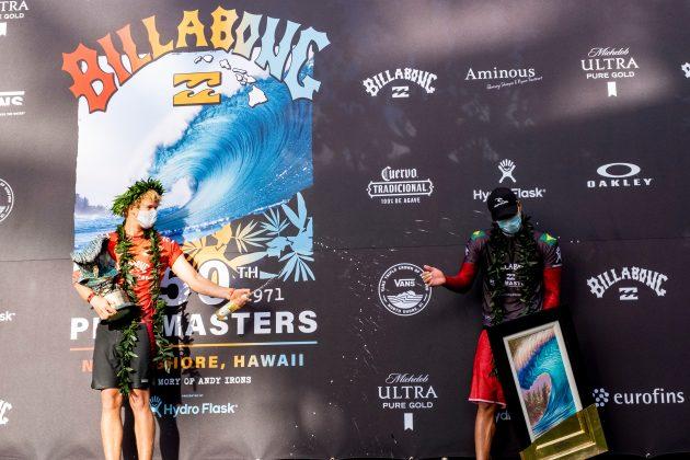 John John Florence e Gabriel Medina, Billabong Pipe Masters 2020, North Shore de Oahu, Havaí. Foto: WSL / Keoki.