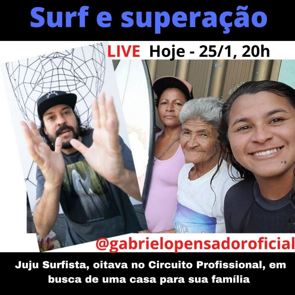 Gabriel o Pensador comanda live em apoio à cearense Juliana dos Santos.