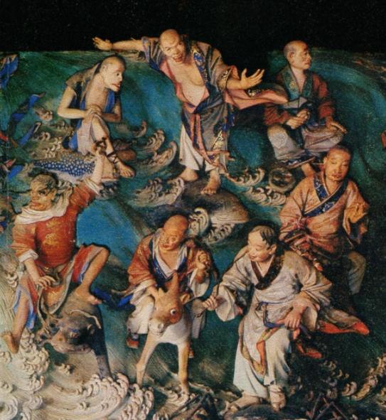 Esculturas milenares mostram budistas em postura semelhante ao surfe atual.