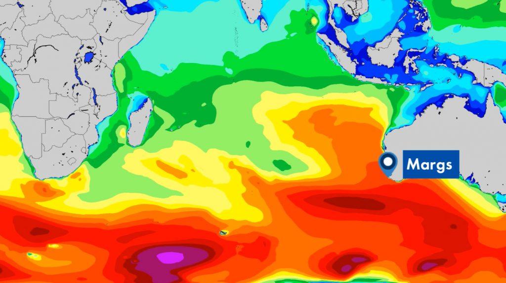 Mapa de previsão das ondas para Margaret River.