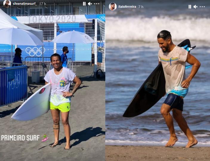 Silvana Lima e Italo Ferreira já surfaram e focam na musculação.