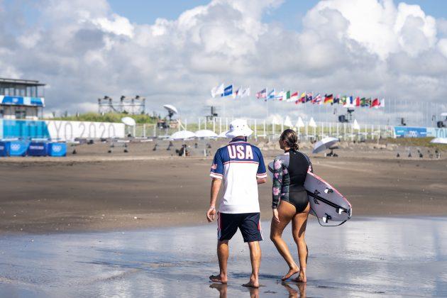 Carissa Moore, Jogos Olímpicos 2021, Tsurigasaki Beach, Ichinomiya, Chiba, Japão. Foto: ISA / Sean Evans.