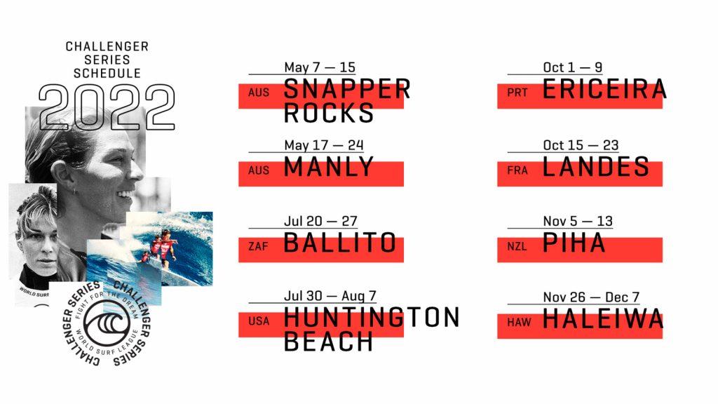 Calendário 2022 do WSL Challenger Series.