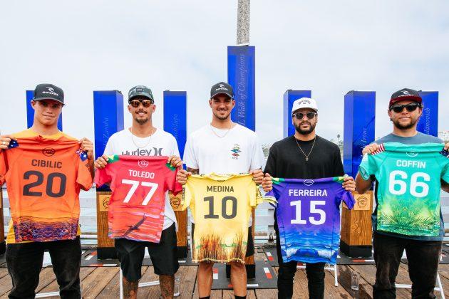 Morgan Cibilic, Filipe Toledo, Gabriel Medina, Italo Ferreira e Conner Coffin, Rip Curl WSL Finals 2021, Trestles, Califórnia (EUA). Foto: WSL / Thiago Diz.