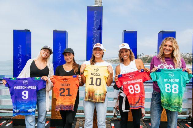 Tatiana Weston-Webb, Johanne Defay, Carissa Moore, Sally Fitzgibbons e Stephanie Gilmore, Rip Curl WSL Finals 2021, Trestles, Califórnia (EUA). Foto: WSL / Thiago Diz.