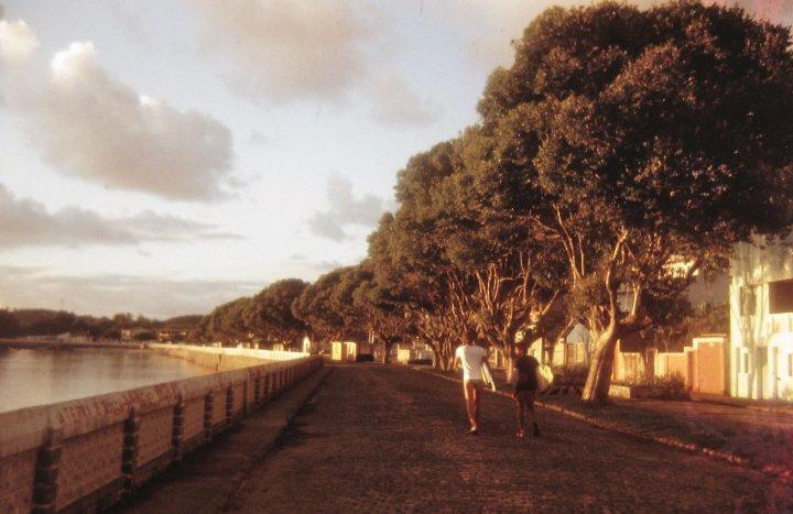 Alberto Alves e Andre Paglioli caminhando logo cedo, da cidade até as praias, no inverno de 1982, quando ficamos na pousada da dona Heloína. Itacaré (BA)