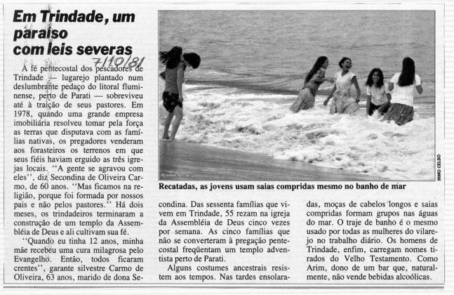 Recorte de jornal de 1981, Trindade (RJ)